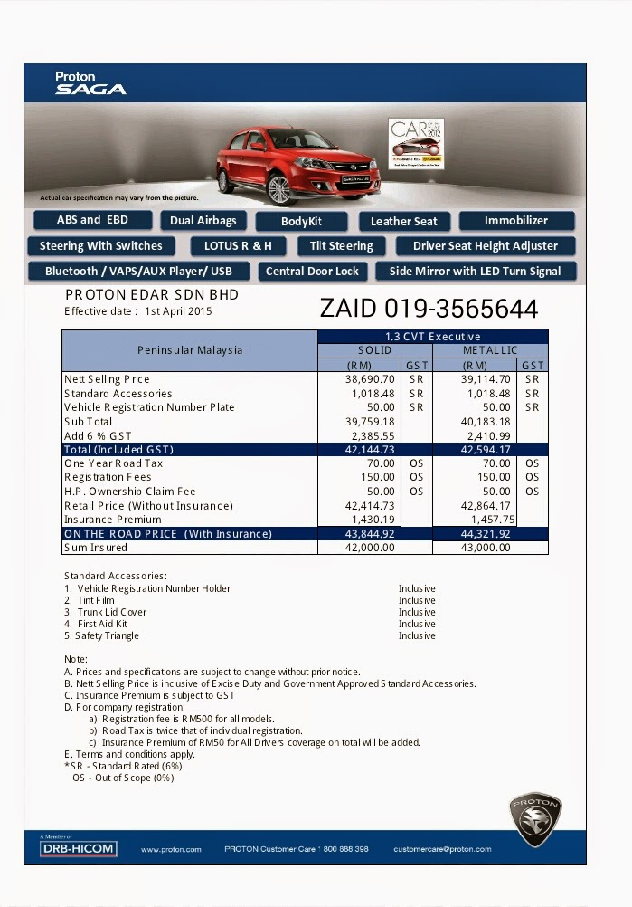 PRICE LIST SAGA EXECUTIVE CVT