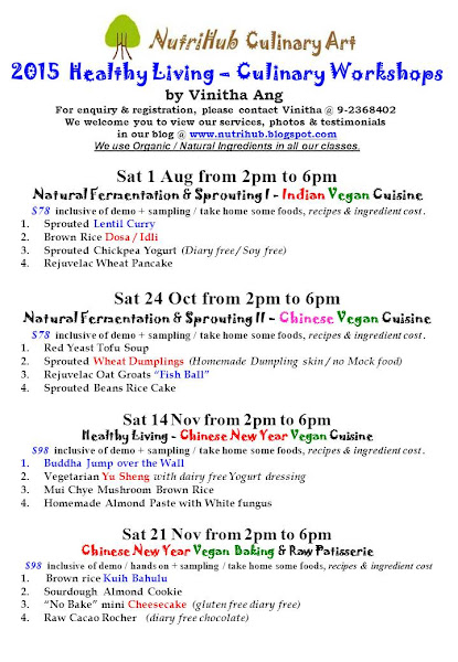 Aug to Nov 2015 - New Vegan Culinary class by Vinitha @ NutriHub