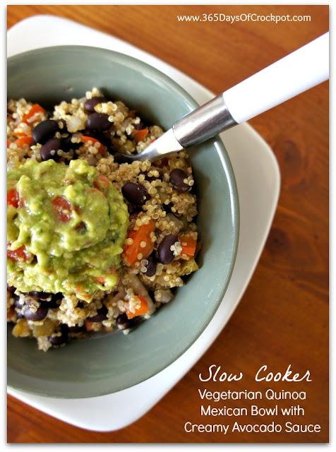 Recipe for Slow Cooker Vegetarian Quinoa Mexican Bowls with Creamy Avocado Sauce #healthyslowcooker #quinoa