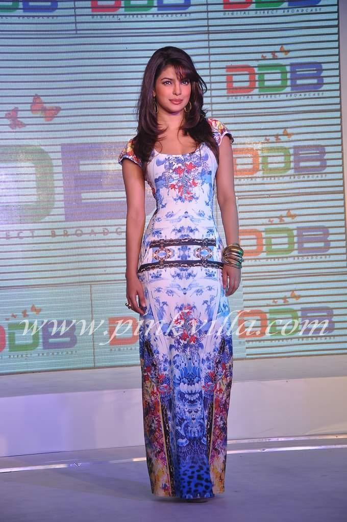 Priyanka Chopra looks alluring in a tight floor length dress -  Priyanka Chopra Videocon D2H press meet TIGHT DRESS