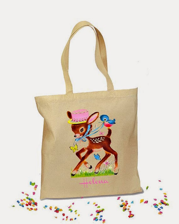 Personalized Deer Party Bag Tote Retro Gift Canvas Vintage Birthday girl boy children's kids birthday party first bird hat ribbon hostess gift