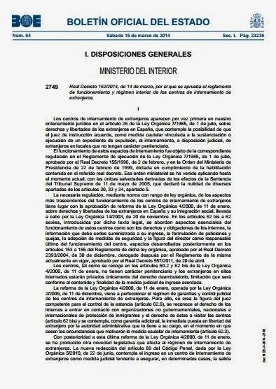 RD 162/2014, de 14 de marzo. Reglamento CIEs