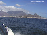 Capetown view from boat to Robben Island