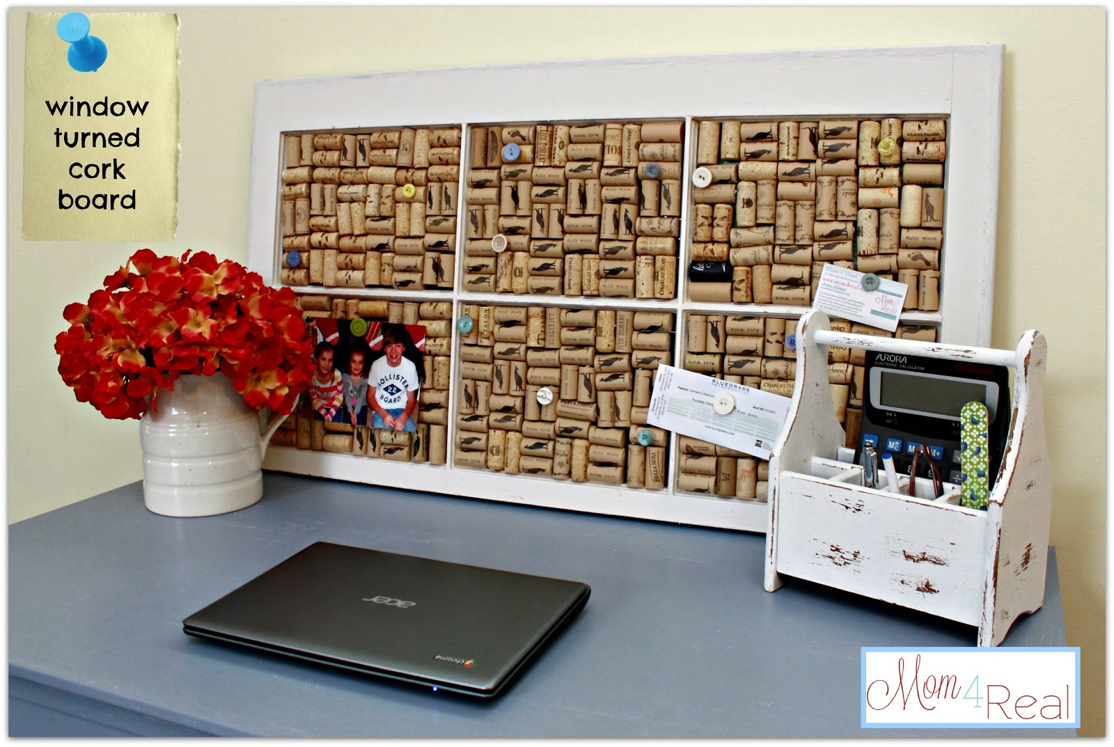 Old window turned wine cork board mom 4 real for How to decorate a cork board