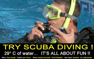 Discover Scuba Diving Aquarius dive center Constanta Romania centru bazin piscina scufundari curs scafandri temperatura apei 25 grade PADI Marea Neagra