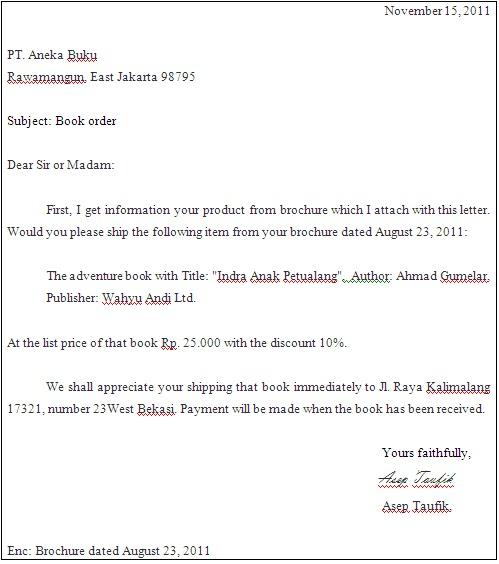 Pengertian Dan Contoh Order Letter Desi Agustin