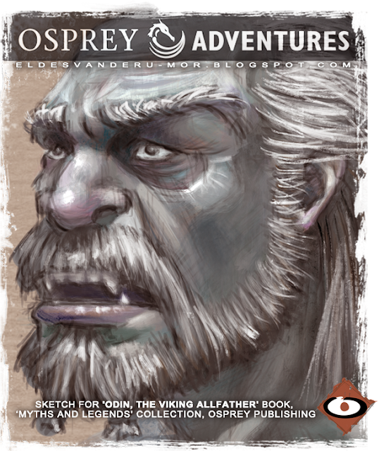 Concept art of Mimir, jotum, Odin, norse mythology, with the gods and creatures of fantasy for OSPREY Adventure