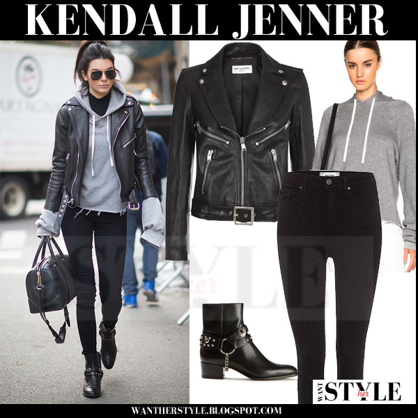 Kendall Jenner in black leather saint laurent jacket, grey unravel sweatshirt and black skinny paige denim margot jeans what she wore model style