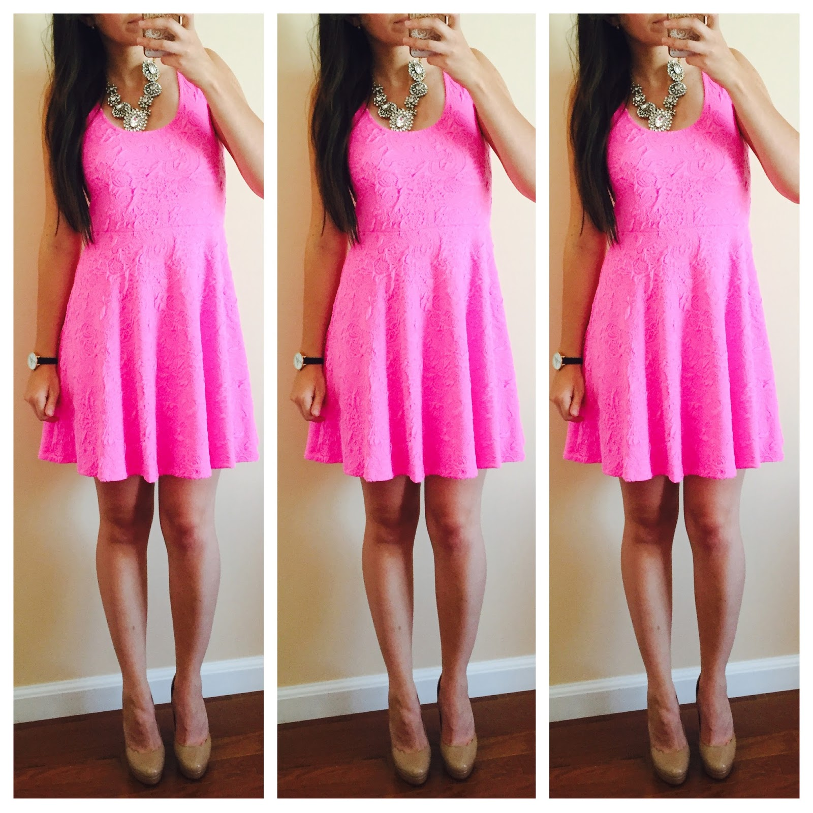 20 ways to style a pink dress, pink blush, pink textured dress, nude heels, pink dress with nude heels, necklace