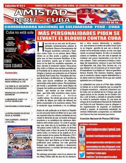 "BOLETÍN N°011 ""AMISTAD PERÚ CUBA"""