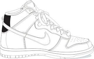 Desenhos Preto e Branco tenis legais varios tipos esbolço fazendo pose Colorir