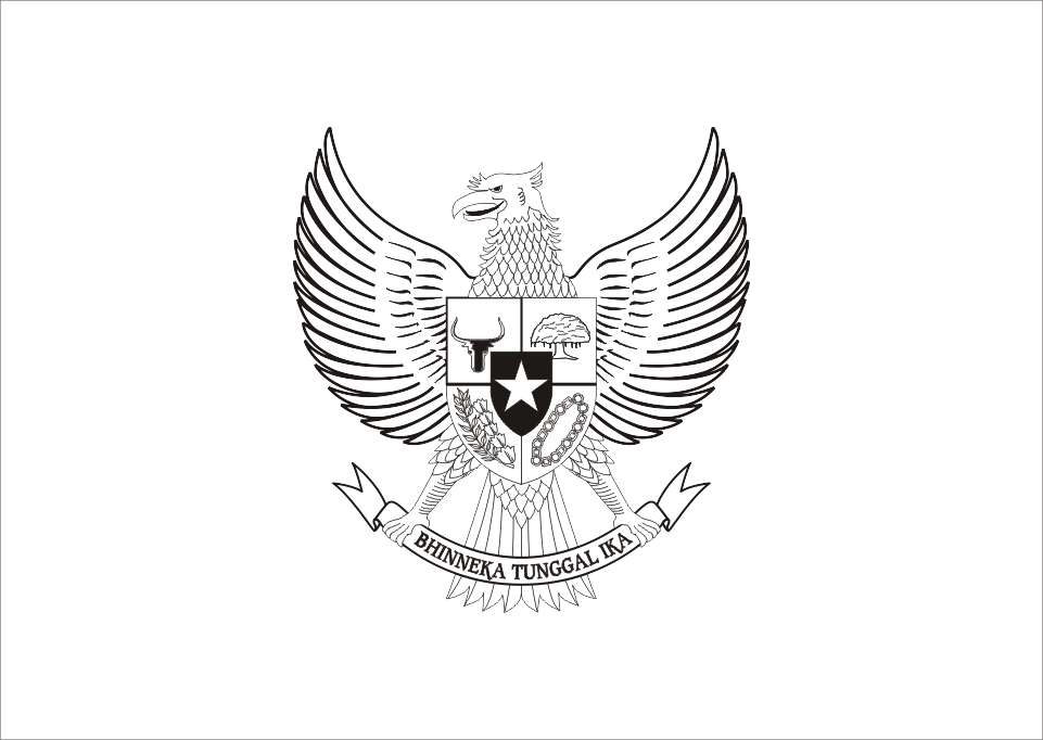 Garuda Pancasila (Black White Mode) Logo Vector download free