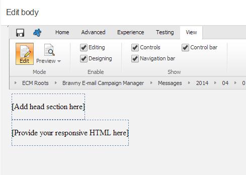 Sitecore Responsive Email Head Body Edit