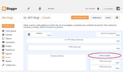 Agregar un Gadget en Blogger