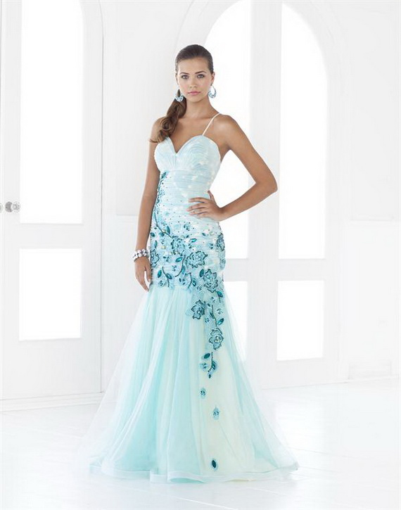 light blue spaghetti prom dress