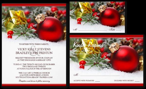 Festive Christmas Wedding Invitation