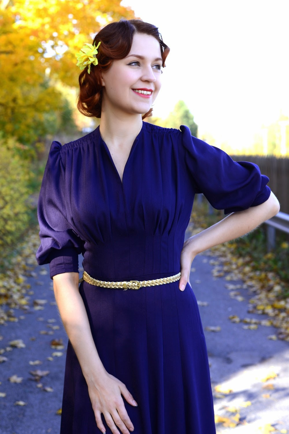Purple rayon 40s reproduction dress at VintageFollies by CheriseDesign