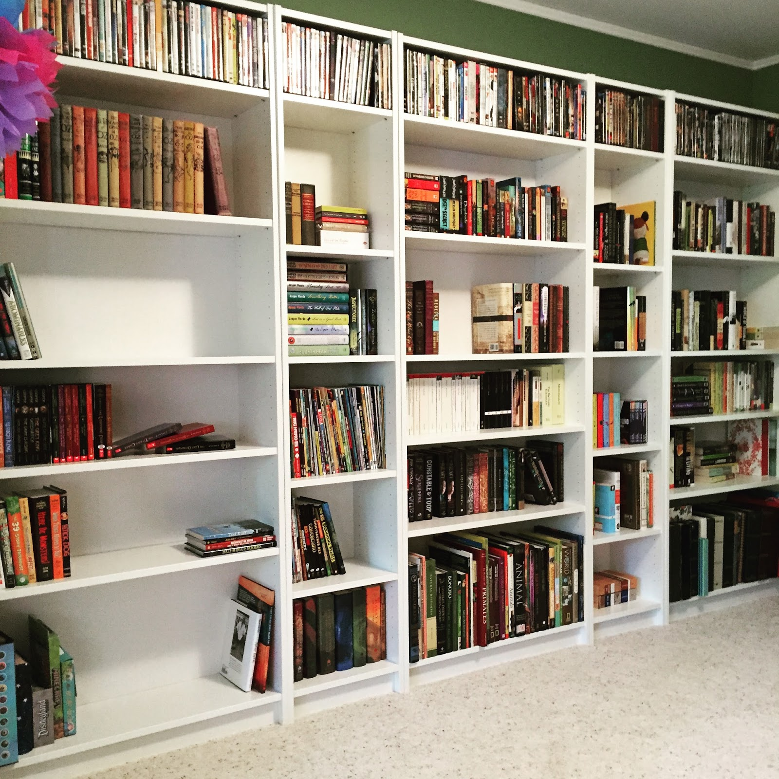 I turned to my Instagram buddies and almost all of them voted for staggering  the shelves. I agreed and so .