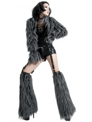 Alternative Black and Gray Punk Fur Jacket for Women