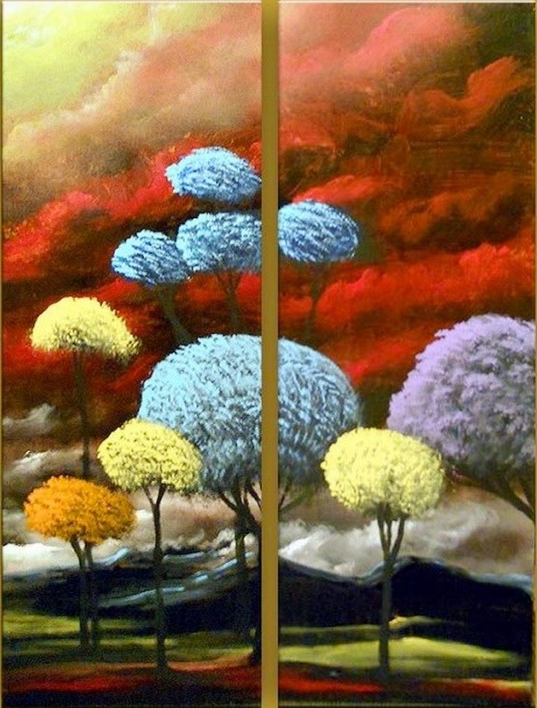 Cuadros modernos pinturas y dibujos paisajes modernos al - Oleos decorativos ...