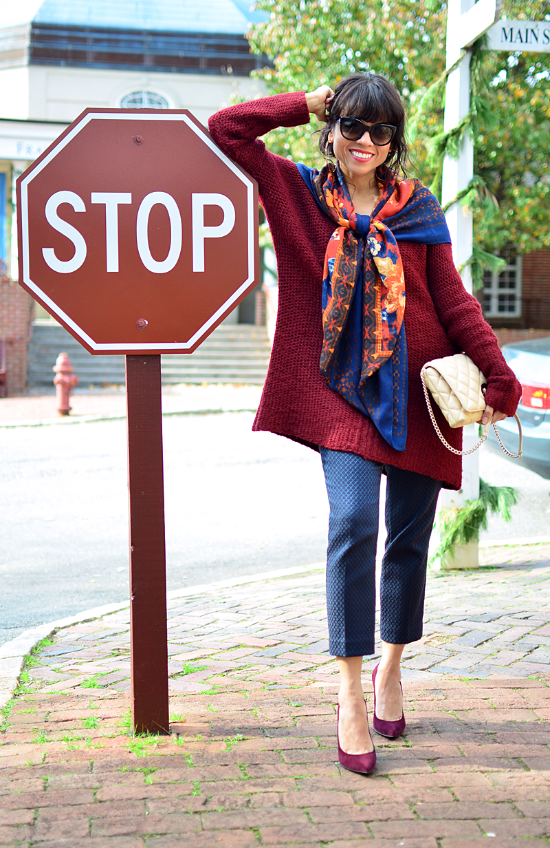 Burgundy with navy street style