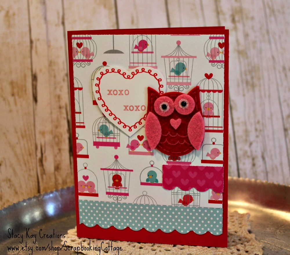 Stacy Kay Creations Set Of Heart And Owl Valentine Cards