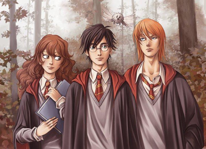 hogwarts alumni anime harry potter trio