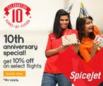 Spicejet Flat 10% Off On All Flight Bookings. {Valid Till 10.00 am to 3.00 Pm}