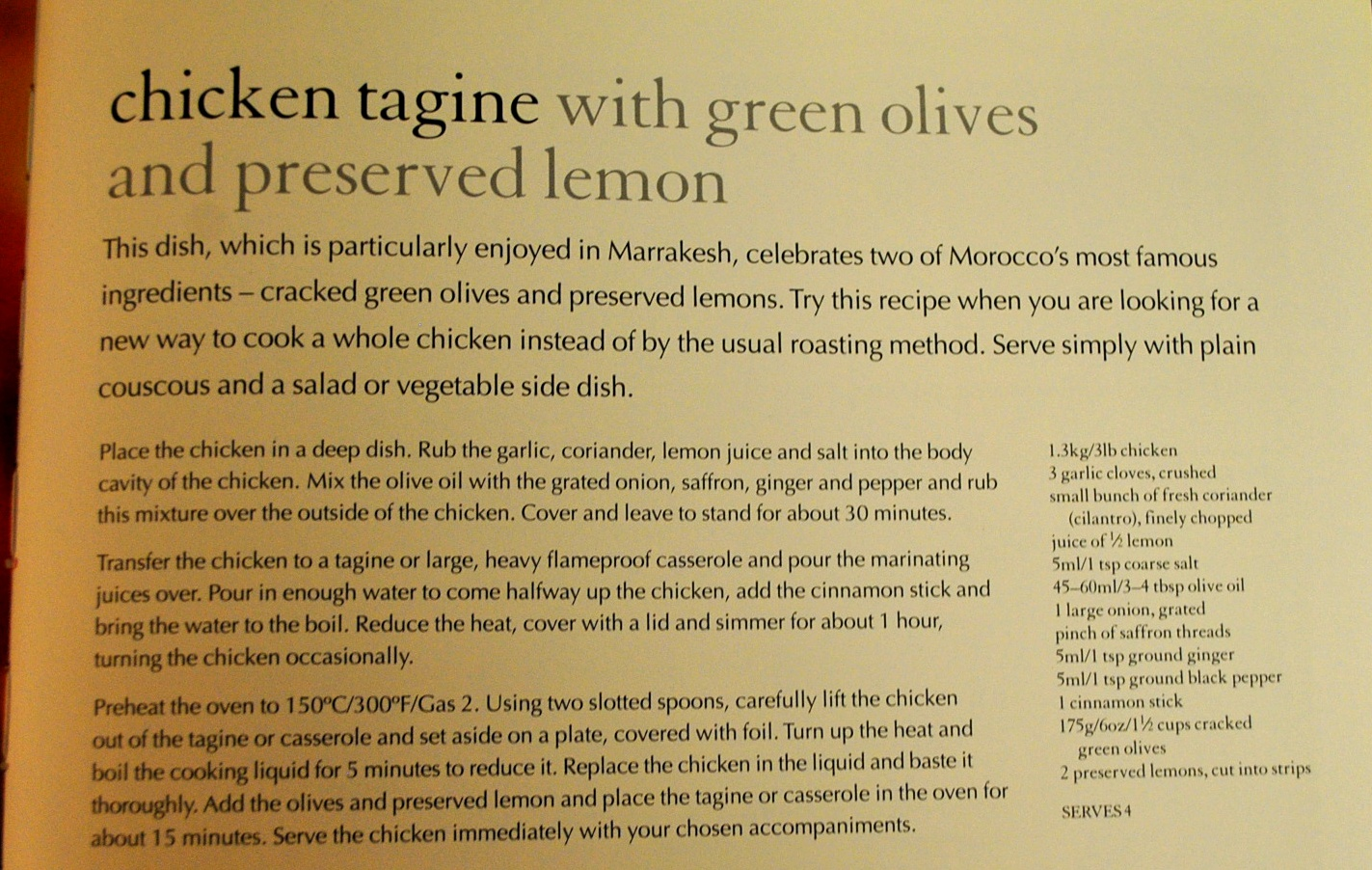 Gastronomery: Chicken Tagine with green olives and preserved lemon.
