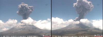 Una fuerte erupción del volcan Popocateprtl a las 18:23 UTC del 17 de junio 2013