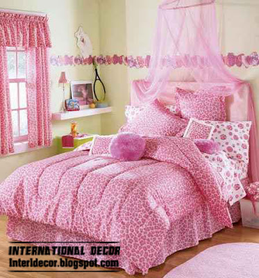 stylish girls pink bedding, modern girls bedroom 2015