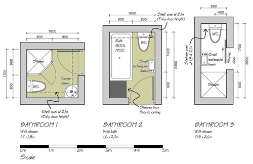 Small bathroom floor plans possible way for Small 3 4 bathroom floor plans