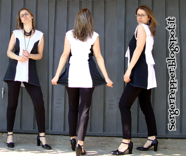SergerPepper.blogspot.it - Black and White Challenge - Minidress tutorial