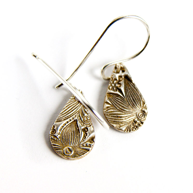 Fine Silver Drop Earrings Oxidised Floral Design Sycamoon