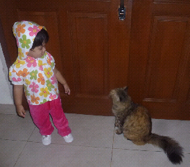 Cutie Iman Asyran in flower printed hooded top