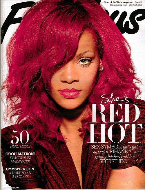Rihanna---Long Straight Red Hairstyle