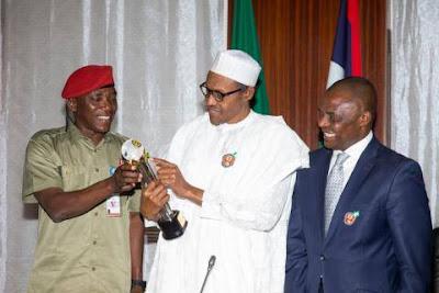 Photos;  President Buhari Receives GLO CAF Platinum Award for Good Leadership