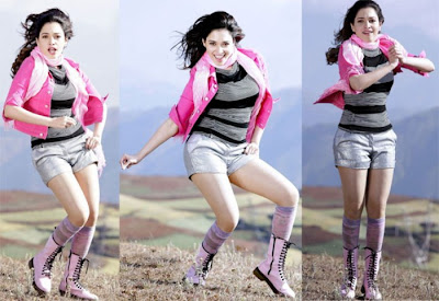 Tamanna in Silver Shorts with Pink Top and Pink Girly Lace Shoes