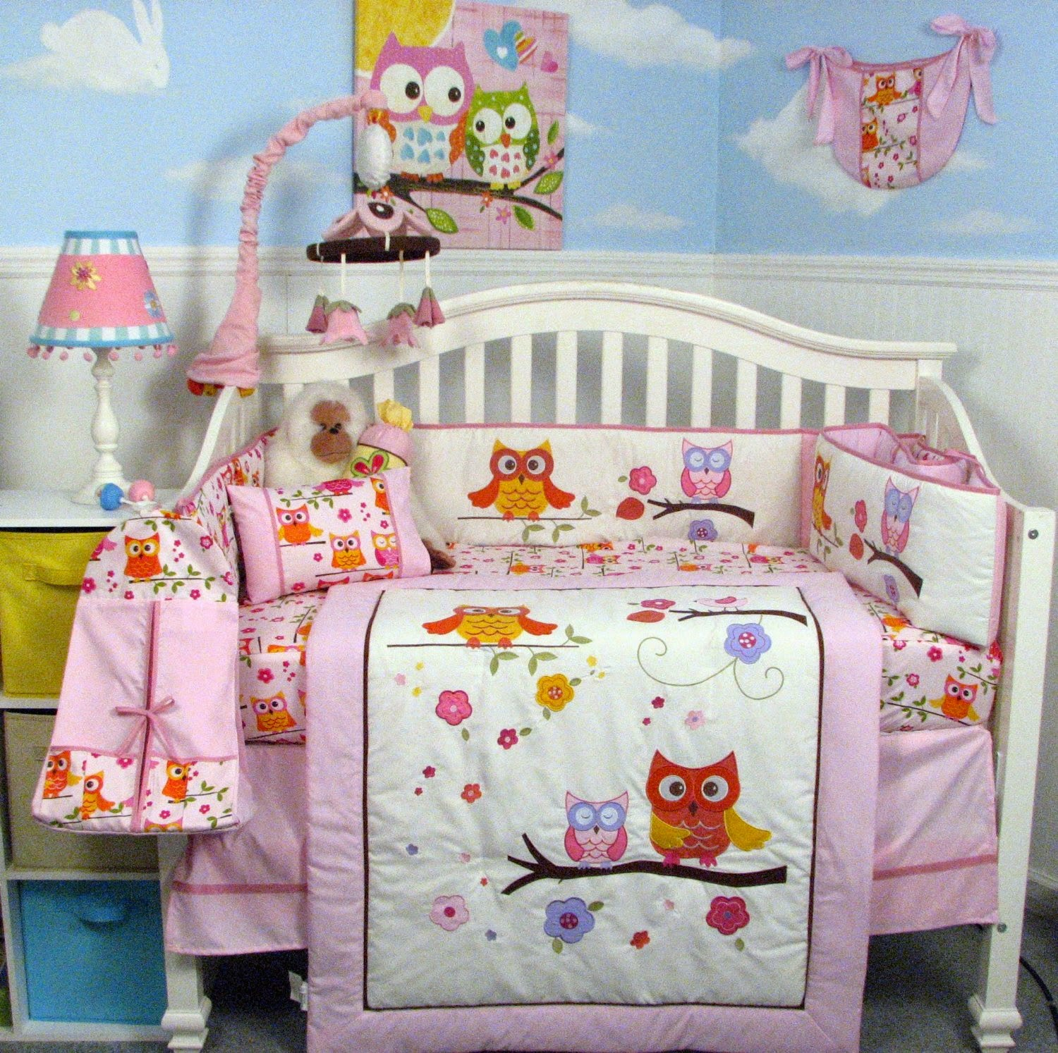 Soho pink dancing owl baby crib nursery bedding set with diaper bag 14