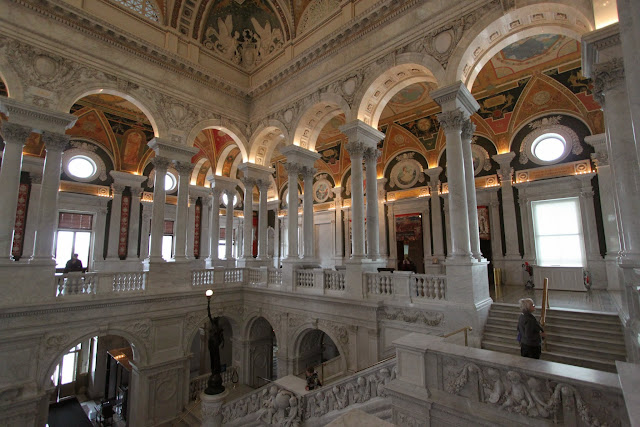 The second floor of The Great Hall at Library of Congress, Thomas Jefferson Building in Washington DC, USA
