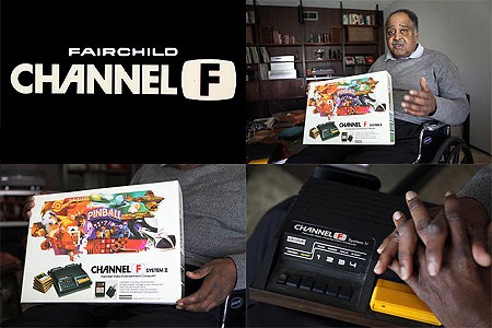 Jerry Lawson with his Fairchild Channel F, pioneering video games console from 1976.