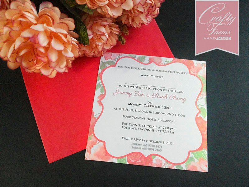 Wedding Card Malaysia Crafty Farms Handmade Chinese Rose Red