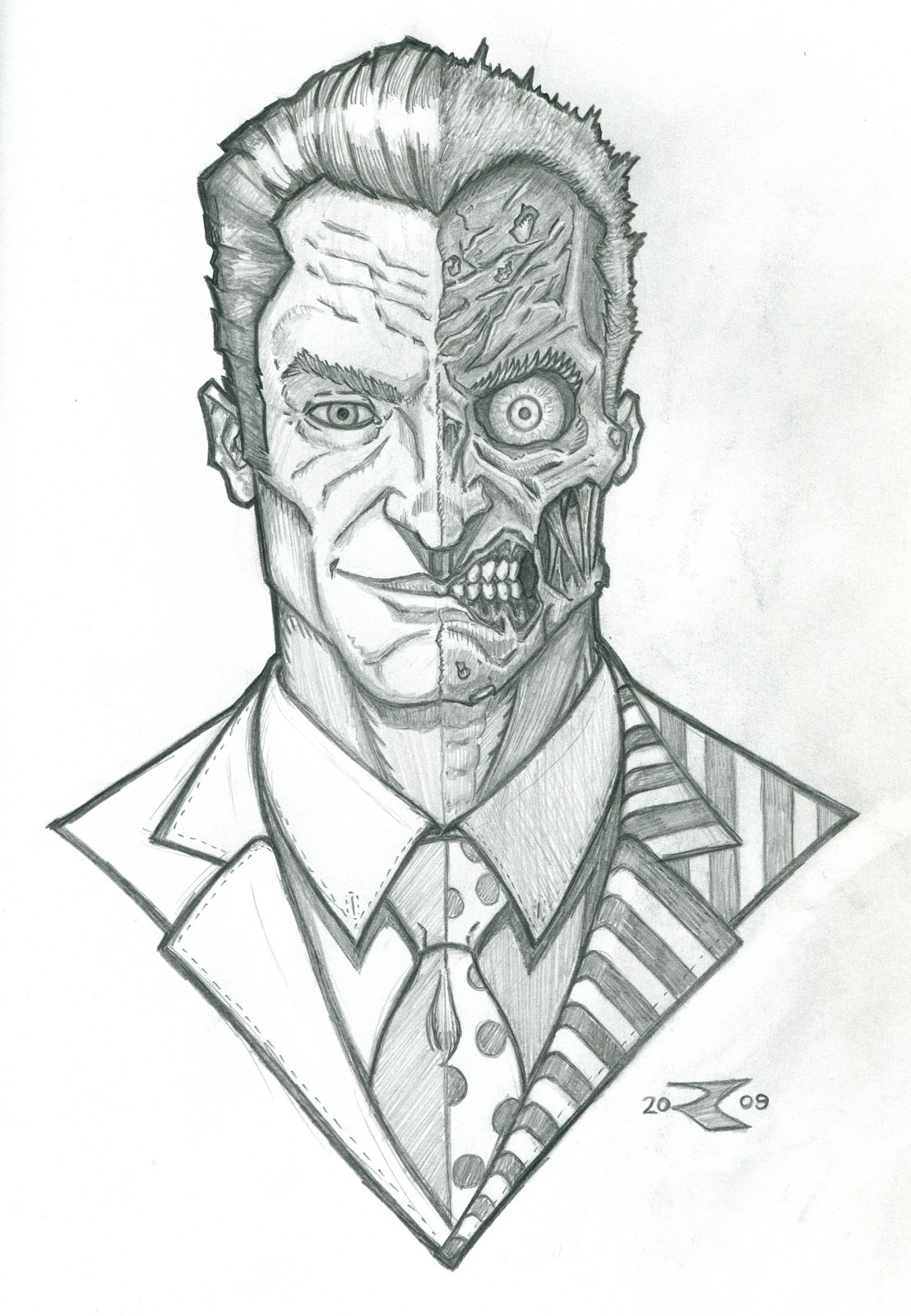 Two Face Batman Forever Coloring Page