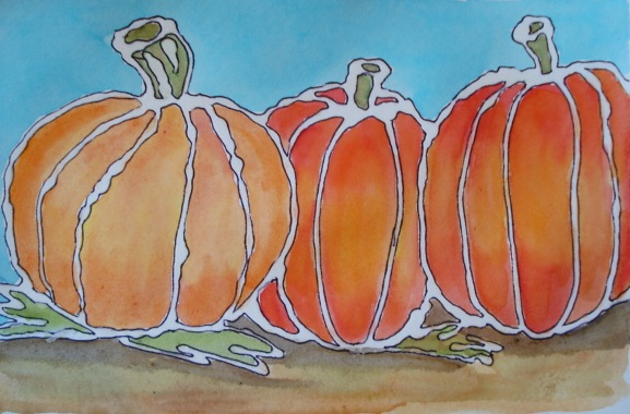 a faithful attempt glue line watercolour pumpkins