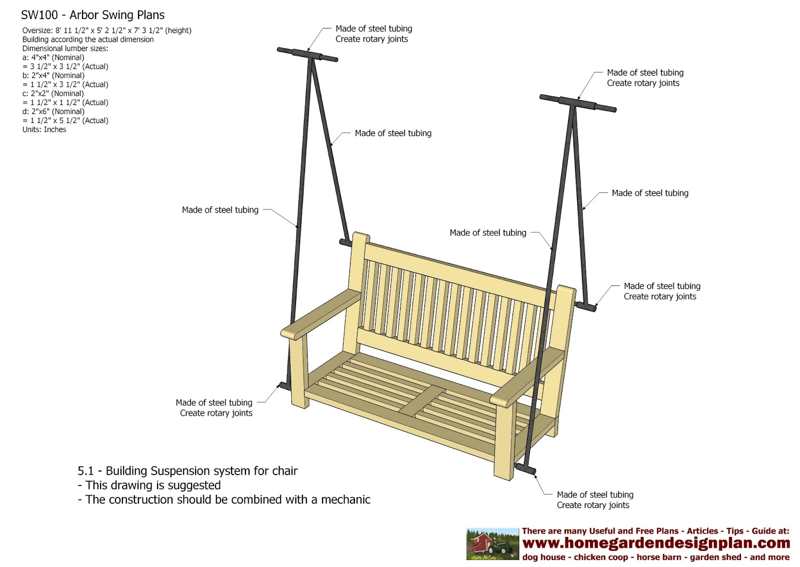 Home garden plans sw100 arbor swing plans swing for Outdoor swing plans