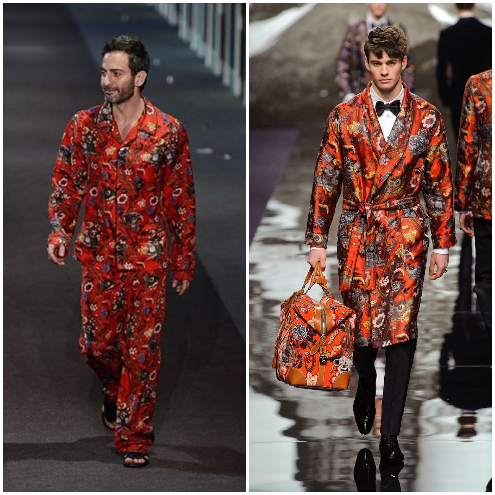 00O00 Menswear Blog Marc Jacobs in Chapman Brothers x Louis Vuitton Menswear Fall Winter 2013 pyjamas at Louis Vuitton Womenswear Fall Winter 2013 show during Paris Fashion Week 6th March 2013
