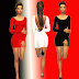 Open Back Dresses Set (Red - White - Black) || Female Clothing || Outfit || The Sims 4