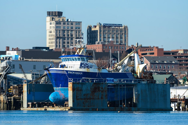 Providian Boat and Portland, Maine Skyline November 2013. Photo by Corey Templeton.