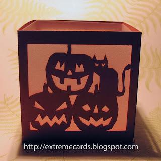 pumpkins and cat tea light lantern front