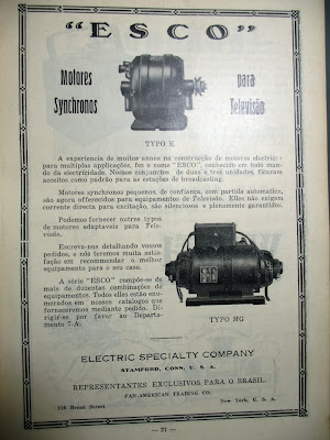 Motores ESCO para Televisão 1929